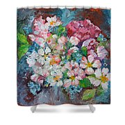 White Sakura - Floral Cherry Tree Blossom Oil Color Painting Shower Curtain