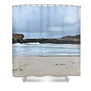 White Sand Beach And Large Rock Formations In Aruba Shower Curtain