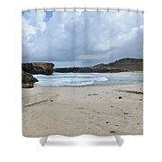 White Sandy Deserted Beach On The East Coast Of Aruba Shower Curtain