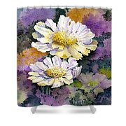 White Scabious Shower Curtain
