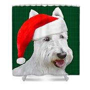 White Scottish Terrier Christmas Plaid Shower Curtain
