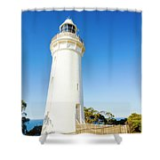 White Seaside Tower Shower Curtain