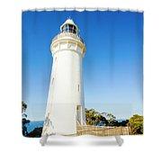 White Seaside Tower Shower Curtain