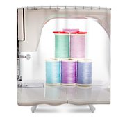 White Sewing Machine And Colorful Threads Shower Curtain