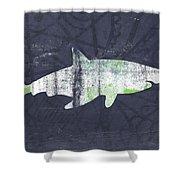 White Shark- Art By Linda Woods Shower Curtain
