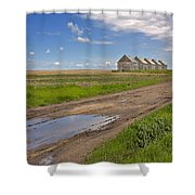 White Sheds On A Prairie Farm In Spring Shower Curtain