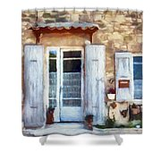 White Shutters Shower Curtain