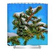 White Snow On Evergreen Shower Curtain