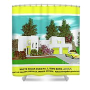 White Solar Cube Number One Shower Curtain