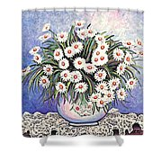 White Straw Flowers Two Shower Curtain