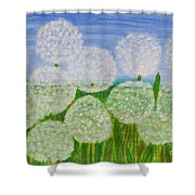 White Sunflowers, Painting Shower Curtain