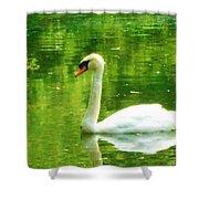 White Swan Swim In Pond Shower Curtain