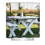 White Table Shower Curtain