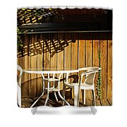 White Table With Chairs Shower Curtain
