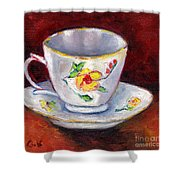 White Tea Cup With Yellow Flowers Grace Venditti Montreal Art Shower Curtain
