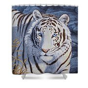 White Tiger - Crystal Eyes Shower Curtain
