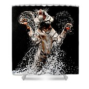 White Tiger Jumping In Water Shower Curtain
