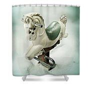 White Toy Horse Shower Curtain