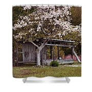 White Tree And Old Barn Shower Curtain