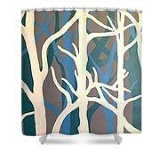 White Trees Shower Curtain
