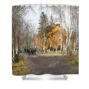 White Trees And Honka Shower Curtain