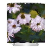 White Triangle Flowers Shower Curtain