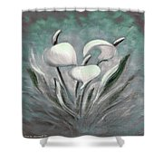 White Tropical Flowers Shower Curtain