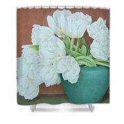 White Tulilps In Blue Vase Shower Curtain