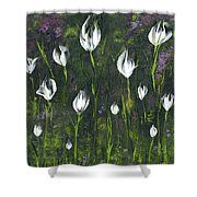 White Tulip Garden Shower Curtain