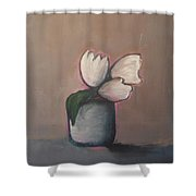 White Tulips - Abstract Art Shower Curtain