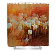 White Tulips Shower Curtain by Richard Ricci