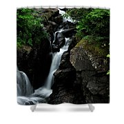 White Water Black Rocks Shower Curtain
