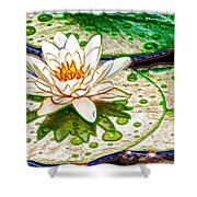 White Water Lilies Flower Shower Curtain