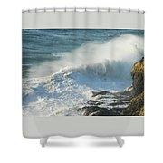 White Wave Sprays Shower Curtain