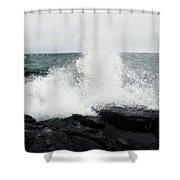 White Waves Black Rocks Shower Curtain