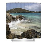 White Waves Crashing Shower Curtain