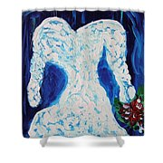 White Wedding Dress On Blue Shower Curtain