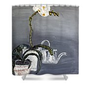 White Wild Orchid Shower Curtain