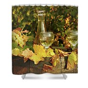 White Wine And Grape In Vineyard Shower Curtain