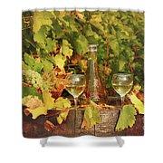 White Wine And Vineyard Autumn Season Shower Curtain