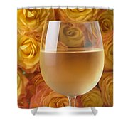 White Wine And Yellow Roses Shower Curtain