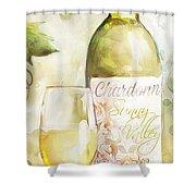 White Wine Watercolor Shower Curtain