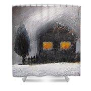 White Winter Night Shower Curtain