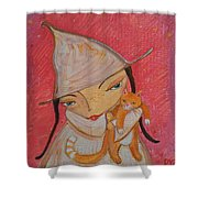 White Witch And Kitty Poo Shower Curtain