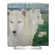 White Wolves Guarding Their Pups Shower Curtain