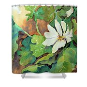 White Woodland Flower Shower Curtain