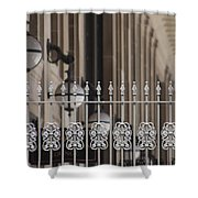 White Wrought Iron Gate In Chicago Shower Curtain