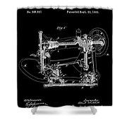 Whitehill Sewing Machine Patent 1885 Black Shower Curtain