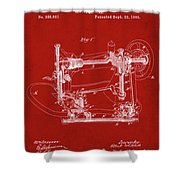 Whitehill Sewing Machine Patent 1885 Red Shower Curtain