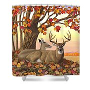 Whitetail Deer - Hilltop Retreat Shower Curtain by Crista Forest